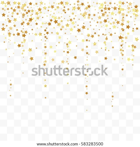 Confetti cover from gold stars. Top border from falling sparklers and tracks. Design element, special effect on transparent background. #583283500