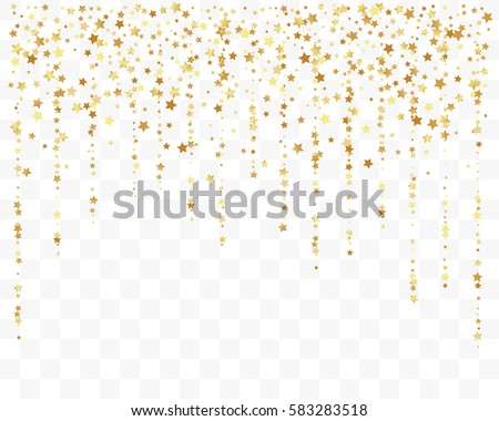 Confetti cover from gold stars. Top border from falling sparklers and tracks. Design element, special effect on transparent background. #583283518
