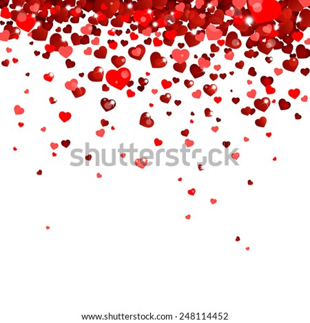 confetti falling from red hearts