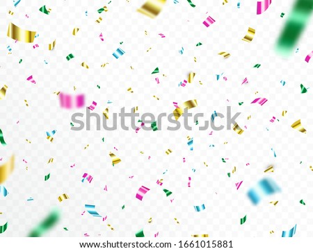Confetti falling on transparent background. Bright colorful festive tinsel. Party backdrop. Shiny color confetti. Holiday design elements for web banner, poster, flyer, invitation. Vector illustration