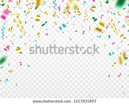 Confetti falling on transparent background. Shiny color confetti. Bright colorful festive tinsel. Party backdrop. Holiday design elements for web banner, poster, flyer, invitation. Vector illustration