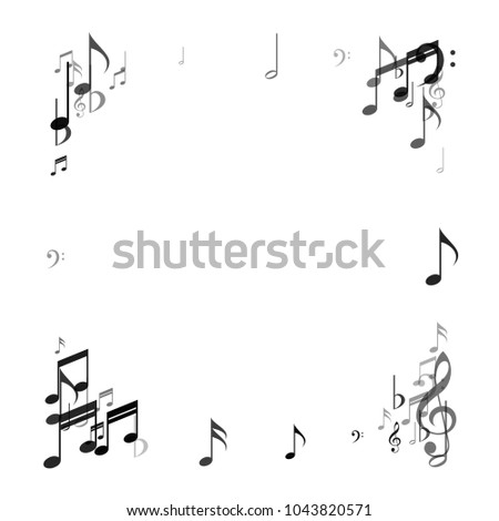 Confetti Frame Of Vector Music Signs And Symbols Music Festival