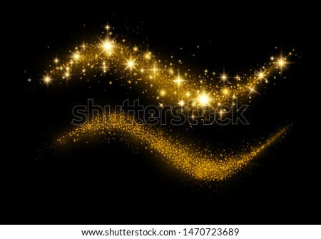 Confetti glittering wave. Vector golden sparkling comet tail. Christmas light effect. Sparkling magical dust gold particles Golden glittering magic waves on black background. Glitter bright trail