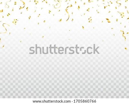 Confetti golden frame. Shiny party background. Glitter gold confetti falling on transparent background. Bright festive tinsel. Celebration holiday design elements for web, flyer. Vector illustration.