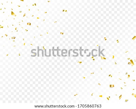 Confetti golden splash. Glitter gold confetti falling on transparent background. Shiny party frame. Bright festive tinsel. Celebration holiday design elements for web, flyer. Vector illustration.