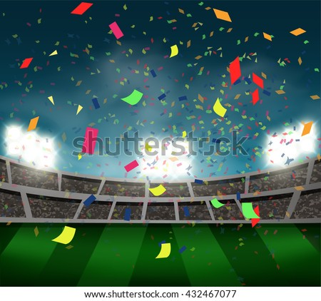 confetti in football stadium