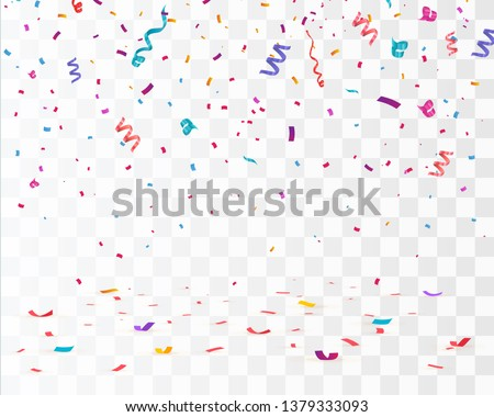 Confetti isolated on transparent background. Falling confetti, birthday vector illustration