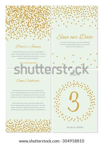confetti wedding invitation set