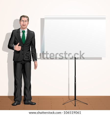Confident businessman showing thumbs up next to paper presentation board
