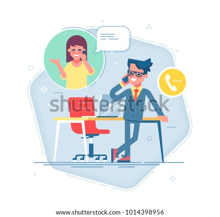 Confident businessman standing cross-legged, leaning on a table and talking on the phone with a woman.  Business contact concept. Vector.