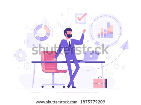 Confident businessman standing cross-legged leaning on a table with business process icons and infographics on background. Business charts and diagrams. Vector illustration.