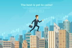 Confident businessman walking up the career stairs. Concept of web banner with person walking to the success. Modern flat design of urban landscape with city buildings, vector illustration.