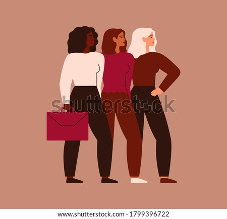 Confident businesswomen stand together. Strong females entrepreneurs support each other. Vector. Concept of equitable participation of women in politics and business.