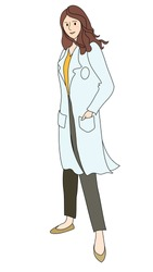 Confident female doctor wearing white gown, yellow blouse , grey pants . Brown hair, standing in the wind, smiling, in white background