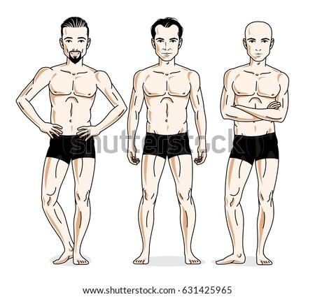 confident handsome men group
