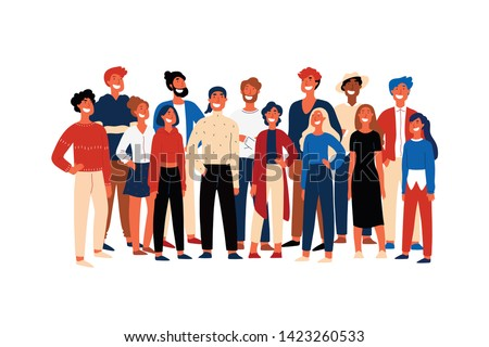 Confident people, student society members, cheerful volunteers standing together, smiling young men. Happy activists, multiethnic group concept cartoon sketch. Flat vector illustration