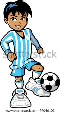 Confident smiling young man boy FIFA soccer football player with soccer ball and big sneakers