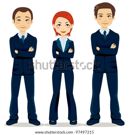 Confident team of three business people partners standing with arms crossed