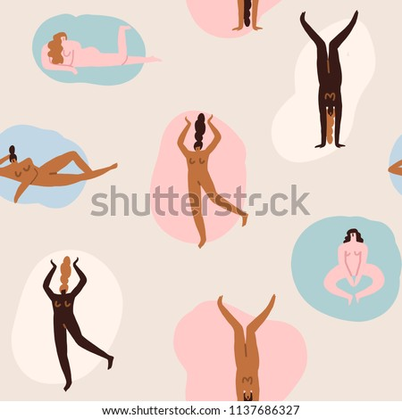 Confident young women characters in different poses seamless pattern in vector. Empowered women illustration.