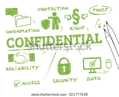 confidential concept. Chart with keywords and icons