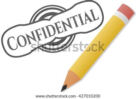 Confidential emblem drawn in pencil