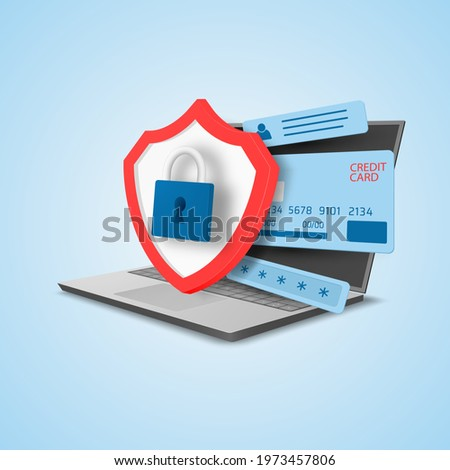 Confidential information protection concept. Credit card, personal data and software protection. Vector illustration. Сток-фото ©