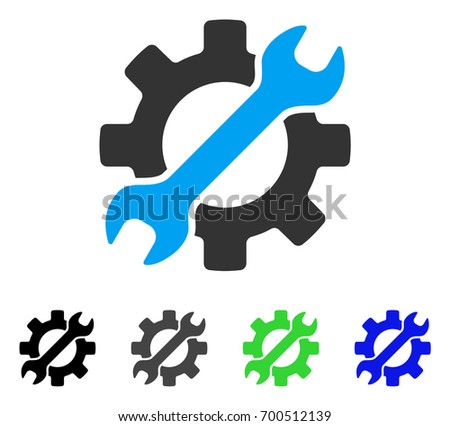 Configure Wrench And Gear flat vector illustration. Colored configure wrench and gear, gray, black, blue, green icon versions. Flat icon style for graphic design.