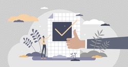 Confirm ok sign in checkbox and positive thumbs up in tiny persons concept. Symbolic scene with approve, accept and validation elements vector illustration. Successful test approval visualization.