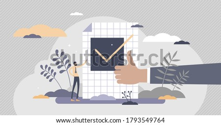 Confirm ok sign in checkbox and positive thumbs up in tiny persons concept. Symbolic scene with approve, accept and validation elements vector illustration. Successful test approval visualization. Photo stock ©