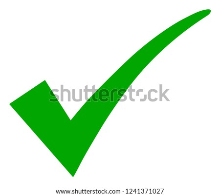 Confirm tick vector icon symbol. Flat pictogram is isolated on a white background. Confirm tick pictogram designed with simple style.