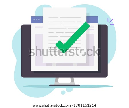 Confirmed online document file check approval.  Desktop or pc computer quality control of text writing,  flat vector,. Digital accepted or certified license document concept Photo stock ©