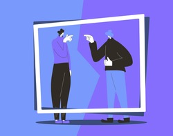 Conflict. Adult man vs woman concept. Pair of people during argument. Quarrel concept. Bad relationship between friends or family members. Vector flat color illustration.