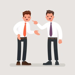 Conflict at work. Office workers to fight. Business discord. Vector illustration in a flat style