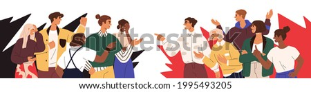 Conflict between opponents. Dispute of two society groups with different opinions. Concept of social fight and disagreement. People's confrontation. Flat vector illustration isolated on white Foto stock ©