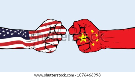 Conflict between USA and China illustration vector