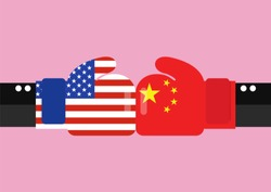 Conflict between USA and China. Two hand with boxing gloves fighting.