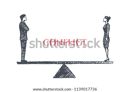 Conflict concept sketch. A frustrated man and woman stand opposite each other on the scales and look at each other. Vector hand drawn illustration.