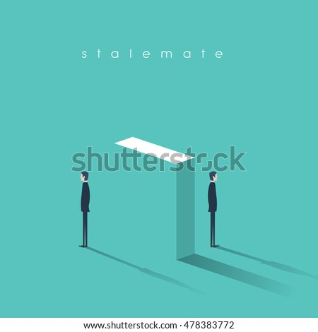 Conflict concept vector illustraiton in business abstract. Stalemate in disagreement, arguing. Eps10 vector illustration. Сток-фото ©