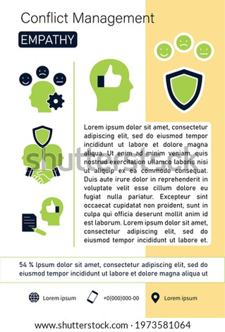 Conflict management brochure. Empathy template. Flyer, magazine, poster, book cover, booklet. Building trust, managing emotions infographic concept.Layout illustration page with icon Stock photo ©