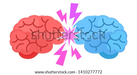Conflict of ideas. Mind games, dispute. Brainstorming concept. Red brain versus blue mind. Vector illustration, flat cartoon style. Isolated on white background.