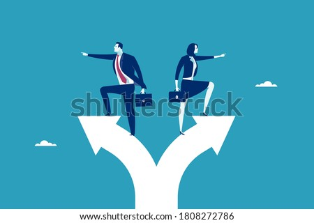 Conflict of opinion. The couple has different opinions. Concept vector illustration. Photo stock ©