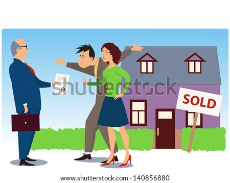 "Conflict over real estate sell and eviction. Businessman present documents to an angry couple, a house with a ""Sold"" sign in the background"