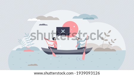 Conflict situation with opposite opinions and interests tiny person concept. Businessman challenge, frustration and struggle with disagreement battle vector illustration. Negotiation with dead end. Stockfoto ©