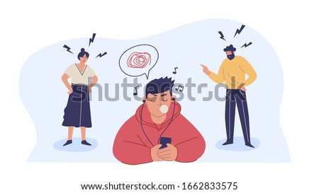 Conflict with parents, father and mother scolding a teenage boy. A teenage boy ignores his parents. Children's misunderstanding with their families. Vector characters.