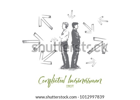 conflicted businessman concept