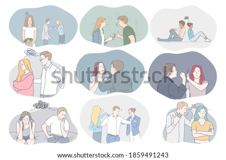 Conflicts in couple, misunderstanding, problems in communication concept. Young couples arguing, fighting, having problems with mutual understanding and quarrelling with each other illustration  Stock photo ©