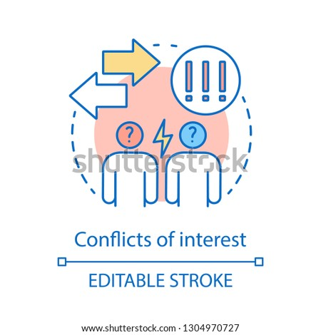 Conflicts of interest concept icon. Misunderstanding idea thin line illustration. Quarrel. Conflict management. Arguing, abuse. Vector isolated outline drawing. Editable stroke