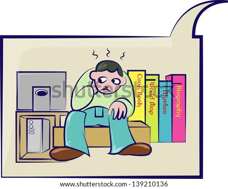 confuse man between book and computer