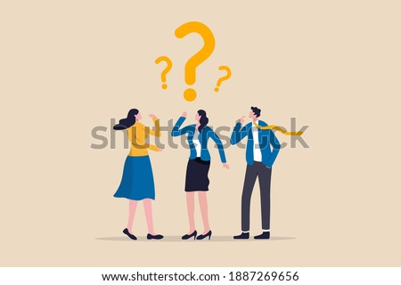 Confused business team finding answer or solution to solve problem, work question or doubt and suspicion in work process concept, businessman and woman team thinking with question mark symbol.