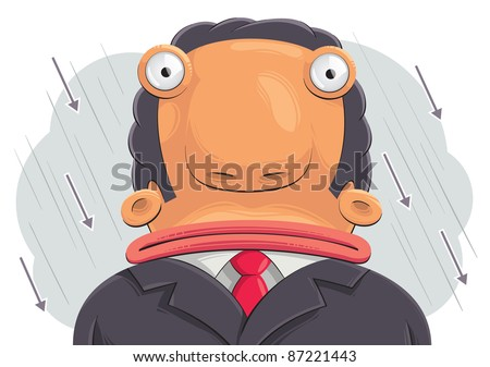 Confused businessman: illustration of confused sad businessman with big head. Rain of arrows in the background - stock vector